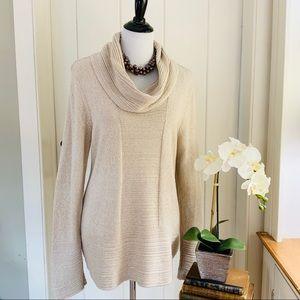 CALVIN KLEIN Tan Oatmeal Cowl Neck Cotton Sweater